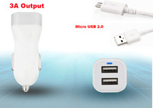 Dual USB Cell Phone Car Charger Lighter +USB Cable For Samsung Z3 Corporate Edition, J2 (2016),On5 Pro,Coolpad Note 5 Lite