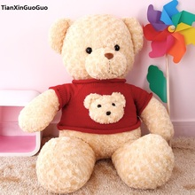 large 80cm stuffed Teddy bear dressed red sweater bear plush toy soft throw pillow birthday gift b2978(China)