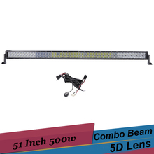 51 Inch Off Road LED Light Bar 500W 5D Car SUV UTV 4X4 Truck Boat Dual Row LED Driving Fog Light 12V 24V Combo led Work Light