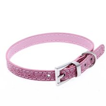 SZS Hot PU Leather Croco collar for Dogs Cats Pet Puppy Pink XXS
