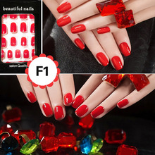 24 Pcs/Set  Nail Sticker Colorful Style French Acrylic False Fake Nail Art Fingernail Full Tips Solid Nail Patch Sticker