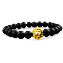 Wv028Classics DIY Design Personalized Fashion Lovely lion Metal Bracelet Elastic Natural Stone Charm Beads Jewelry Gifts