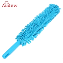 1 pcs 16 inch Flexible Blue Car Wash Brush Long Microfiber Noodle Chenille Alloy Wheel Cleaner