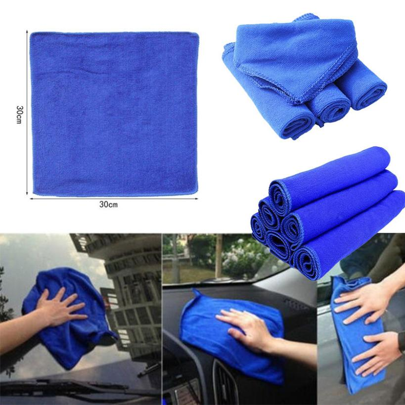 30*30cm Soft Microfiber Cleaning Towel Car Auto Wash Dry Clean Blue Polish Cloth Dec 18(China)