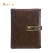 2017 Planner Vintage Notebook A5 Personal Diary With Lock Notebooks Leather Organizer Travel Journal Agenda(China)