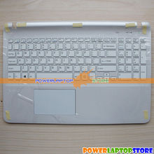 New For SONY Fit SVF152 SVF153 SVF152C29L Series US Laptop Keyboard Palmrest Upper Cover Case TouchPad White