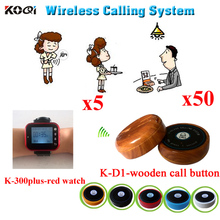 Wireless Calling System Restaurant Serving Remote Waiter Calling Paging Call Transmitter(5pcs watch receiver+ 50pcs call button)(China)