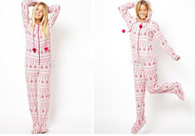 [wiki's store]Adult woman Euro Size Hooded & Footed Pajamas Cotton Fleece Onesies S-L(China)
