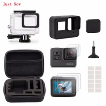 Just Now Black Starter Kit Travel Case Small+Housing Case+Screen Protector+Lens Cover+Silicone Protective Case for GoPro Hero5(China)