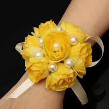 Cloth Wrist Bridesmaid Bridal Corsage Hand Artificial Flowers With Ribbon Wedding Supplies Party Decoration Solid Color Pretty