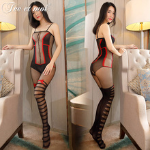 Buy 2017 New Balck Red Sexy striped High Waisted Open Crotch Thin Tights Collant Women Pantyhose Stockings Shoulder Strap