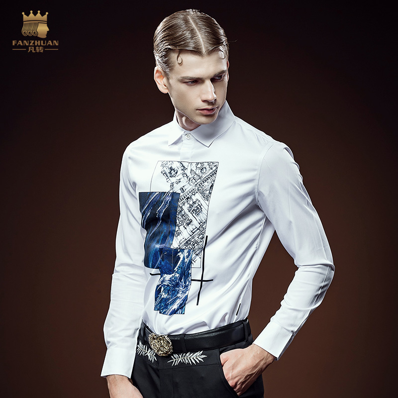 Free Shipping New fashion casual man male men's personality European station Mens Long sleeve printed shirt slim 612028 FanZhuan