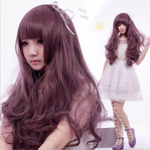 shun Fashion Anime Long wavy Hair Night Club Girl Lolita Cosplay Party Ash purple Wig USPS FastShipping to USA j0182<br><br>Aliexpress
