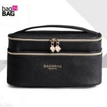 Fashion Double Layer Brand Cosmetic Bag Cross PU Leather Multifunctional Make Up Bag Organizer Makeup Pouch Toiletry Bag neceser(China)