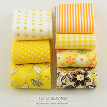 F036# 7pcs/lot 100%cotton fabric gold yellow sets jelly roll quilting patchwork fabric strips 5cm x100cm for DIY handmade crafts