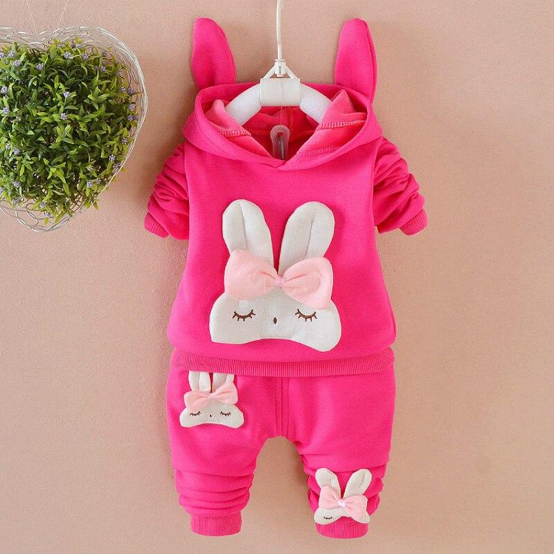 New Baby Girls Sets 2pcs Cartoon Rabbit Spring Autumn Clothes Suit Hoodies Coat+ Pants 1T-3TGirls Kids Children Clothing Set<br>