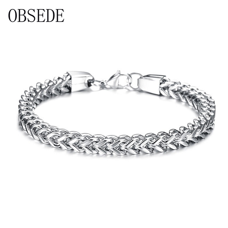 OBSEDE Fashion Bracelets Male Stainless Steel Bracelet & Bangle Link Chain Wristband for Men Jewelry Gifts Gold/Silver/Black(China (Mainland))