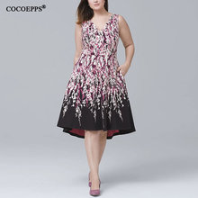 Buy COCOEPPS Fashionable Big Size Flower Print Elegant Women Dresses Summer V-neck sleeveless Party Dress 2018 Casual Women Clothing for $18.98 in AliExpress store