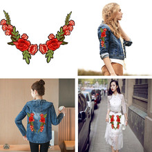 2pc Embroidery Rose Flower Sew On Patch Badge Bag Hat Jeans Dress Clothes Fabric Applique Craft Tools