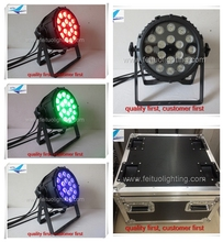 8pcs/lot fly case dj lights outdoor led par 18x18w rgbwa uv led par light dmx lighting 6in1 par 64 stage uplights