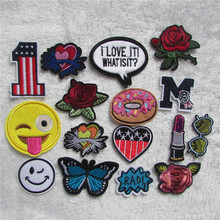 1pcs sell fashion Cute Cartoon bird  flower butterfly Embroidered Patches Iron On Patch Badge DIY Clothing Applique C5418-C5442