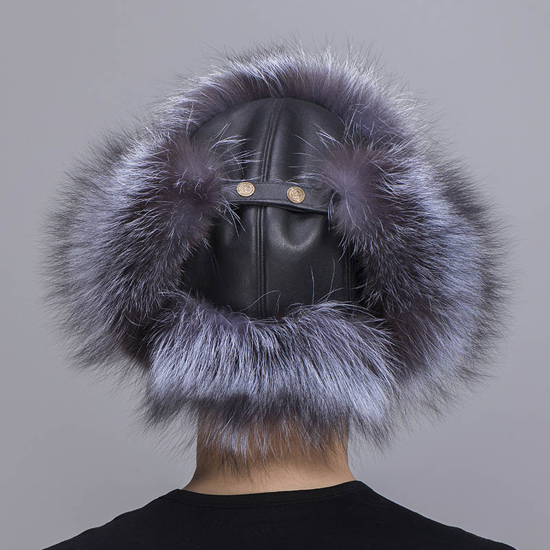 big fur hat silver fox fur 3