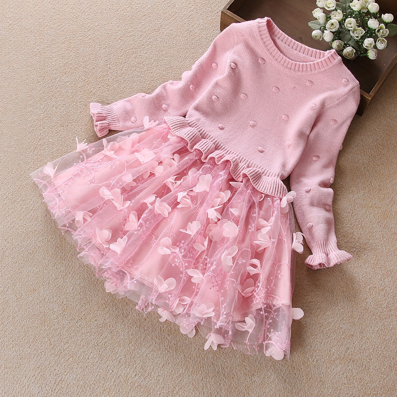 2018 spring toddler girls belle mesh dresses princess costume party clothing beautiful lace pink long sleeve knit dresses<br>