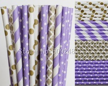 100pcs Drinking Paper Straws Mix,Lilac Striped and Swiss Dot,Metallic Gold Damask and Polka Dot,Lavender Wedding,Novelty,Custom(China)