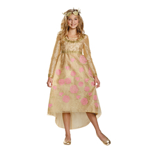 Flower Princess Fancy Dress With Crown Aurora Child Coronation Gown Girls Disny Halloween Movie Cosplay Carnival Party Costume
