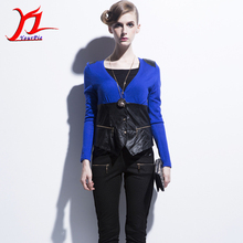 Hot Autumn springtime Women Patchwork V-Neck European Cardigan knitwear Outer Color Blocking Single-Breasted Slim Fashion