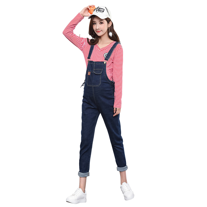 2017 autumn ripped hole pockets maternity overalls loose adjustable bib pants clothes for pregnant women pregnancy jeans jumpsui<br>
