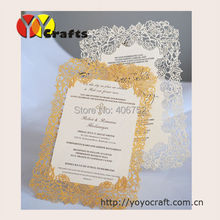 10 sets Rose design delicate paper laser cutting invitation card wedding menu card
