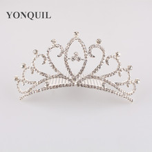 2017 Fashion Charming Bride Crown With Crystals Jewel Designs Hair Accessories Silver Plated Tiara and crown hair comb Headwear(China)