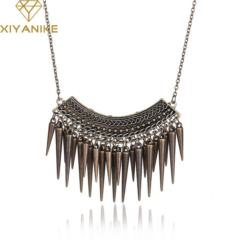 New!! HOT!!!Exaggerated Rivets Tassel Necklace Chain Free, Bronze Wholesale XY-N82