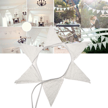 2.8m 12 Flags White Lace Petal Party Wedding Decoration Triangle Pennant Bunting Banners