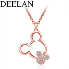 DEELAN  Mickey Pendant Fashion wedding popular austrian crystal jewellery  women Gold Colour necklace bridal accessories