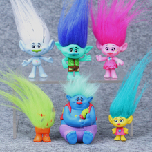 6pcs/set Dreamworks Trolls Movie Figure Collectible Dolls Poppy Branch Biggie PVC Trolls Action Figures Long Hair Doll Toy Gift