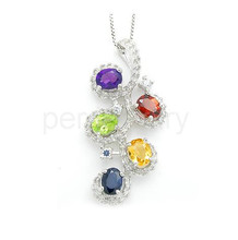 Natural gems necklace pendant Free shipping Natural amethyst,garnet,citrine,peridot,sapphire 925 sterling silver #16083107