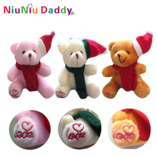 10cm Plush Christmas bear love with heart on bear foot 3 colors Plush toys wholesale 60pcs/lot