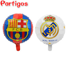 50pcs 45CM Real Madrid Champions League Club Barcelona Aluminium Foil Balloons FCB Team Logo Barca Soccer Fans Celebration(China)
