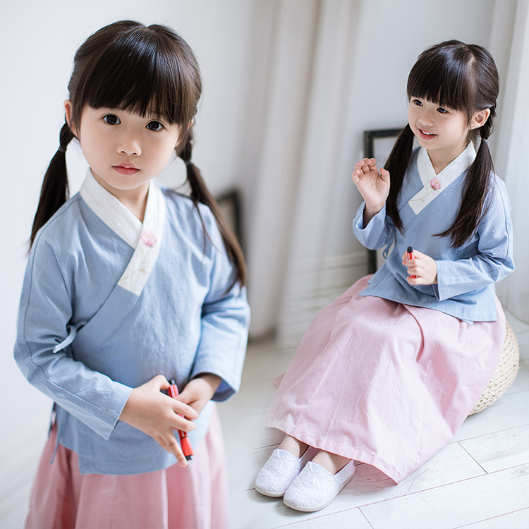Girls Vintage Clothes Sets with Chinese Style Baby Girls Retro Suits Top + Skirt<br>
