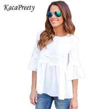 Women T-Shirt Summer 2017 Lace Applique Three Quarter Length Flare Sleeve shirt Buttoned Keyhole Grid Babydoll Top(China)