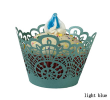 light blue Laser Cut Cupcake cake Wrapper Liner Baking Cup paper for wedding birthday tea party decoration(China)