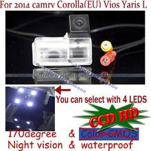 2.4G wireless wire for sony ccd with LED Car Rear Reverse Camera for Toyota 2014 camry Corolla(EU) Vios Yaris L parking asssit