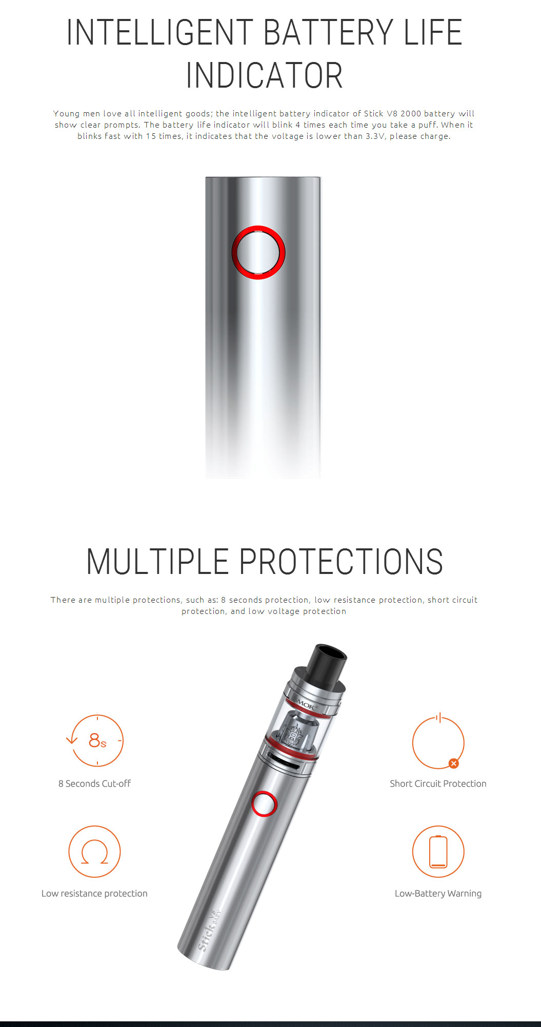 Original SMOK Stick V8 Baby Kit with TFV8 Baby 2ml Tank Atomizer & Built-in 00mAh Battery follow EU TPD Compliant - 13 Colors 6