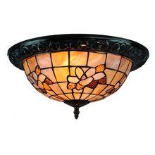 "15"" Retro Tiffany Ceiling Lamp European Vintage Shell Stained Glass Flush Mount Lights Living Room Dining Room Light Fixture 205"