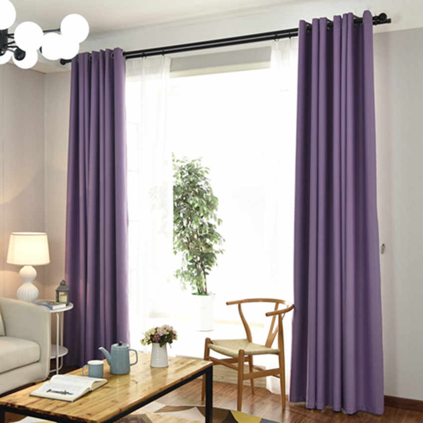 Purple Color Polyester Fiber Blackout Curtains for Living Room Navy Blue Curtains for Bedroom Window Curtains Kitchen Blinds