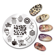 5.5cm  BORN PRETTY Round Nail Art Stamp Template Coffee Time Design Stamping Image Plate BP-91