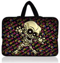 "Free Shipping Skull 10"" Laptop Sleeve Bag Case + Handle For Apple New iPad 3 / HP Touchpad(China)"