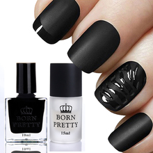 BORN PRETTY 2 Bottles 10ml Gloss Black Nail Polish and 15ml Matte Surface Top Coat Set Manicure Nail Art Varnish